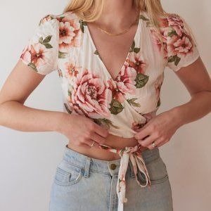 Floral wrap crop top